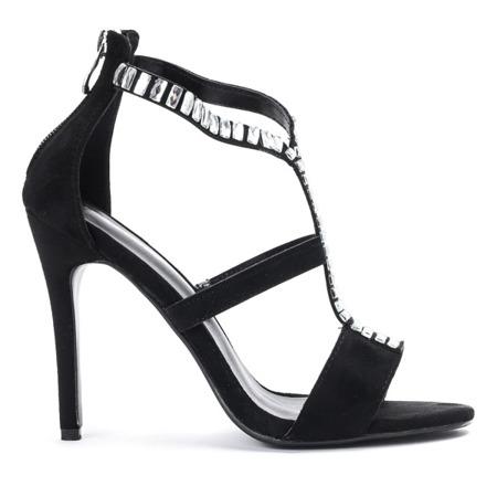 Czarne sandały na wysokiej szpilce Alexandre - Obuwie