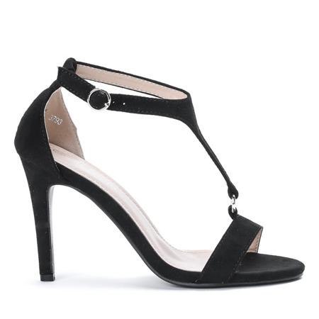 Czarne sandały na wysokiej szpilce Rosie - Obuwie