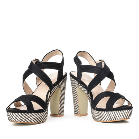 Czarne sandały na wysokim słupku Ramora - Obuwie