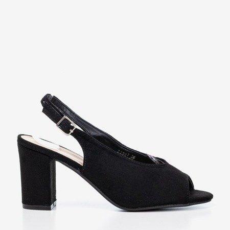 Czarne sandały na wyższym słupku Indimida - Obuwie