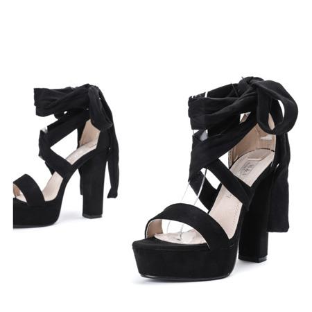 Czarne sandały wiązane na wysokim słupku Molier - Obuwie