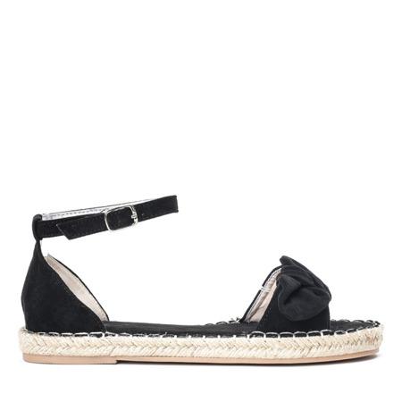 Czarne sandały z kokardką Ria - Obuwie