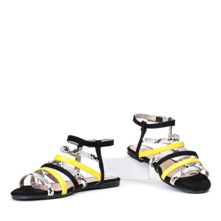 Czarne sandały z kolorowymi paseczkami Galina - Obuwie