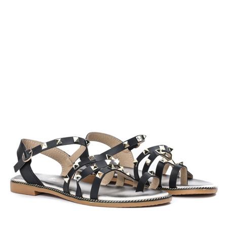 Czarne sandały ze złotymi ćwiekami Sokoto - Obuwie