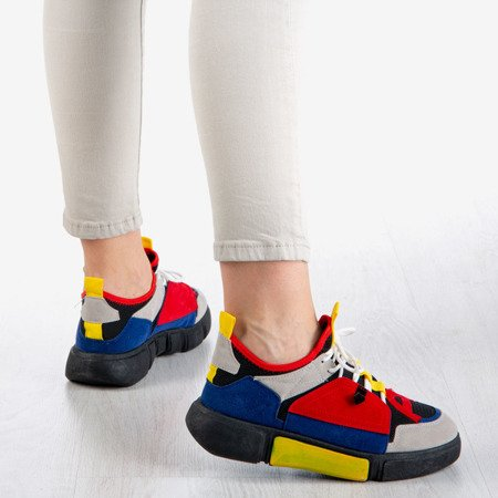 Czarne sneakersy damskie z kolorowymi wstawkami Jessi
