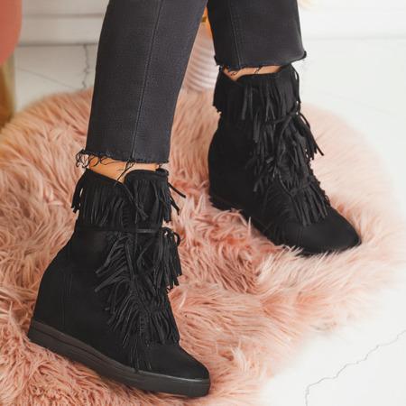 Czarne sneakersy na koturnie Alesi - Obuwie