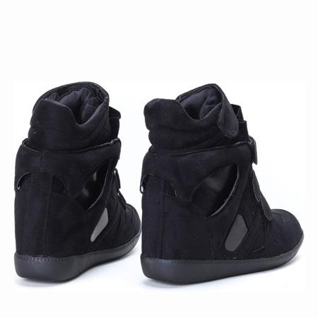 Czarne sneakersy na koturnie Barbra - Obuwie