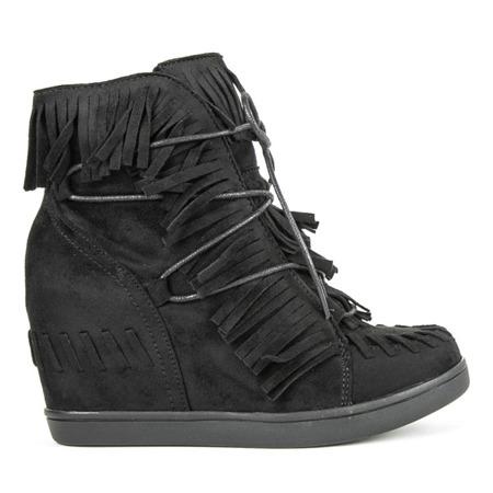 Czarne sneakersy na koturnie Dain - Obuwie