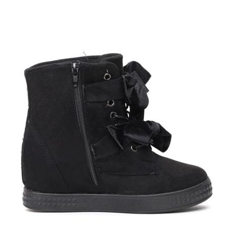 Czarne sneakersy na krytym koturnie Eleanor - Obuwie