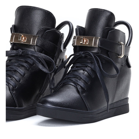 Czarne sneakersy na krytym koturnie Sinnea - Obuwie