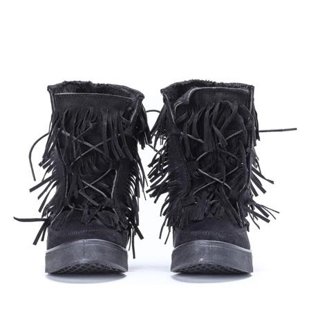 Czarne sneakersy z frędzlami na krytym koturnie Kennedy - Obuwie