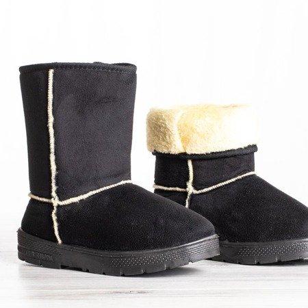 Czarne śniegowce na płaskiej podeszwie Katy - Obuwie