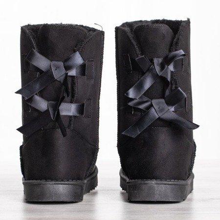 Czarne śniegowce z kokardkami Kisha - Obuwie