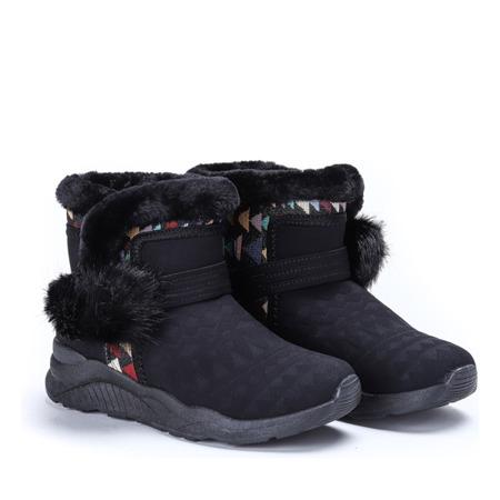 Czarne śniegowce z pomponami Thea - Obuwie