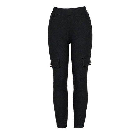 Czarne spodnie cargo damskie - Spodnie