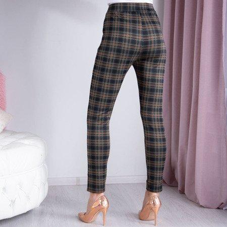 Czarne spodnie w zielono-pomarańczową kratkę - Spodnie