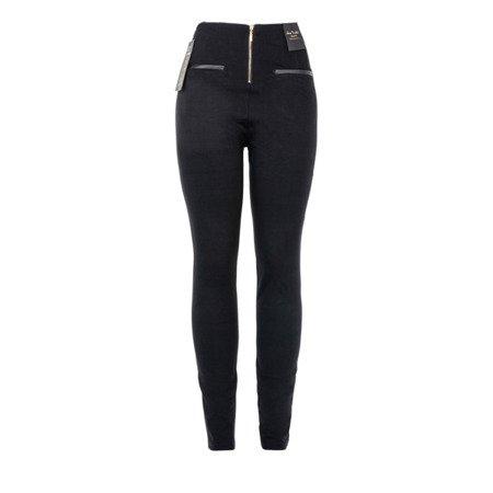 Czarne spodnie z wysokim stanem - Spodnie