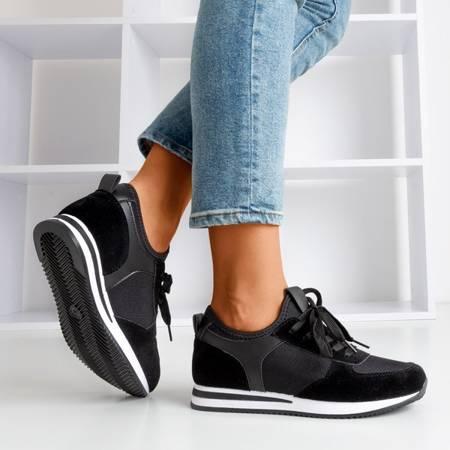 Czarne sportowe buty damskie na krytym koturnie Lyseria - Obuwie