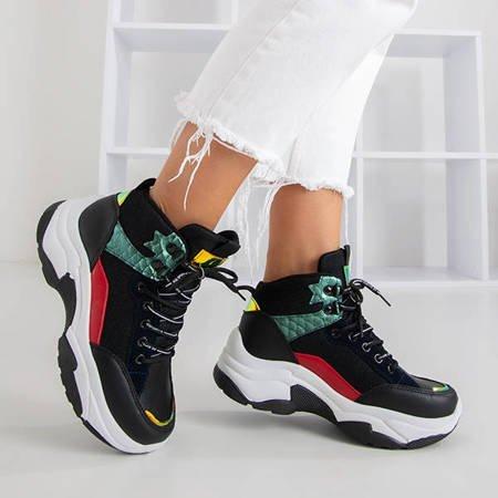 Czarne sportowe buty damskie z kolorowymi wstawkami Gaete - Obuwie