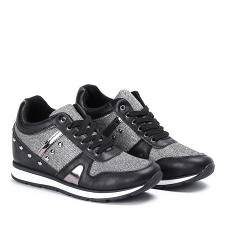 Czarne sportowe buty na krytej koturnie Grina Obuwie