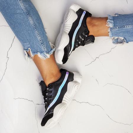 Czarne sportowe buty na wyższej podeszwie Zooey - Obuwie