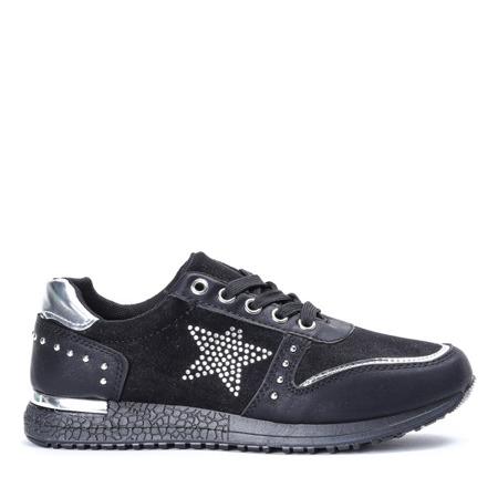 Czarne sportowe buty z ozdobną gwiazdką Stellan - Obuwie