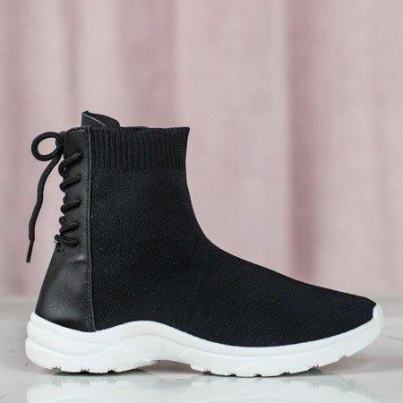 Czarne sportowe buty z ozdobną skarpetą Fujion - Obuwie