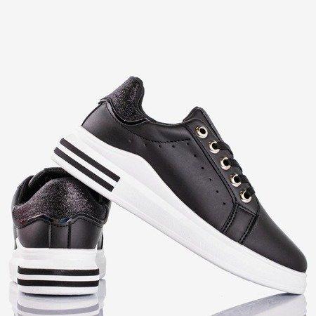 Czarne sportowe tenisówki z brokatowymi wstawkami Solesca - Obuwie