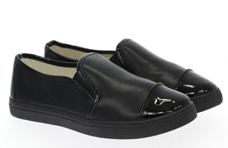 Czarne, sportowe trampki slip-on - Obuwie