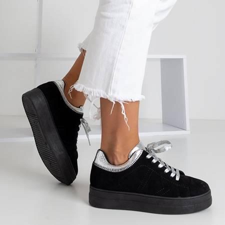 Czarne tenisówki ze srebrnymi sznurówkami Halie - Obuwie