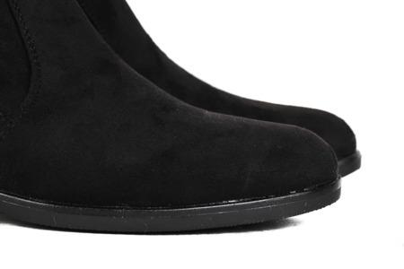 Czarne, zamszowe kozaki - Obuwie