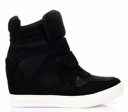 Czarne, zamszowe sneakersy na koturnie Adelaid - Obuwie