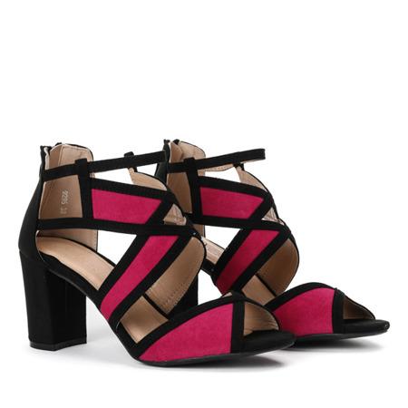 Czarno-fuksjowe sandały na słupku Rosaline - Obuwie