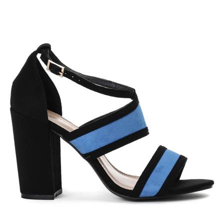 Czarno-niebieskie sandały na słupku Jeanie - Obuwie