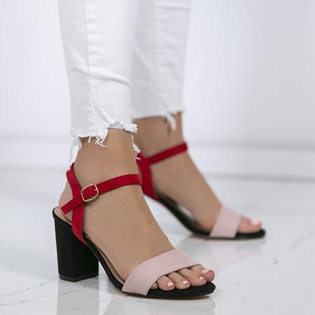 Czarno - różowe sandały na słupku w kolorze czarnym Tribanah - Obuwie