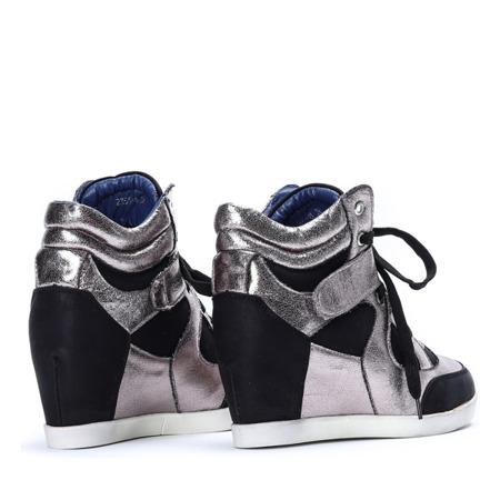 Czarno-srebrne sneakersy na koturnie Nistkas - Obuwie