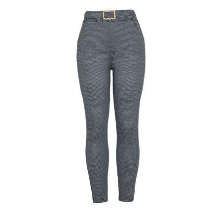 Czarno-szare spodnie z wysokim stanem - Spodnie