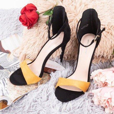 Czarno-żółte sandały damskie na wysokiej szpilce Gold Rush - Obuwie