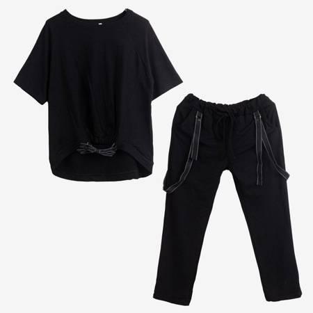 Czarny komplet dresowy ze wstążkami - Odzież