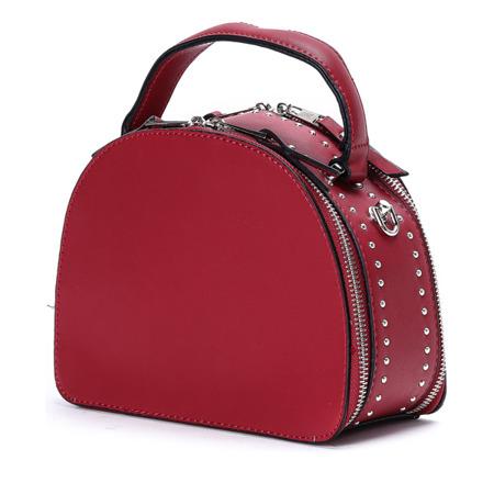 Czerwona półokrągła torebka ze skóry ekologicznej - Torebki