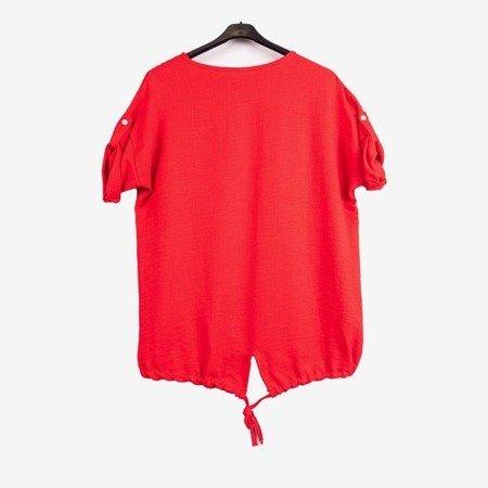 Czerwona tunika damska z nadrukiem - Odzież