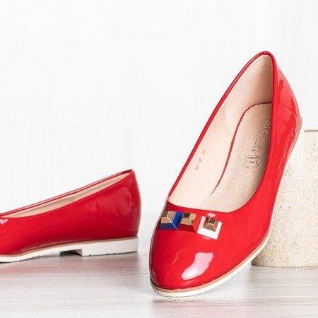 Czerwone baleriny z ćwiekami Jess - Obuwie