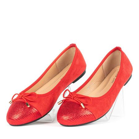 Czerwone baleriny z kokardą Avera - Obuwie