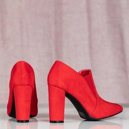 Czerwone botki na wyższym słupku Prisha - Obuwie