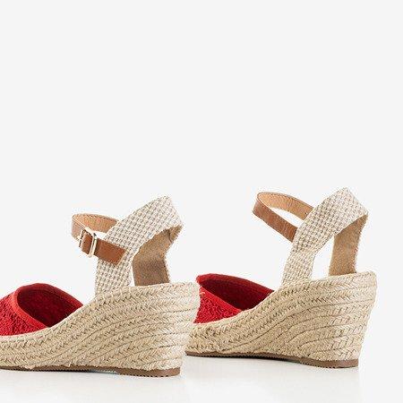 Czerwone damskie sandały na koturnie a'la espadryle Oslape - Obuwie