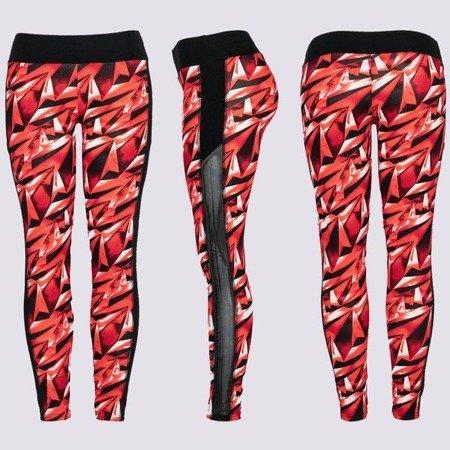 Czerwone getry z geometrycznym wzorem - Spodnie