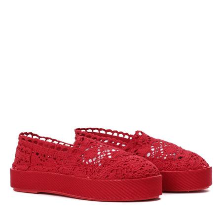 Czerwone koronkowe tenisówki w stylu slip on Bari - Obuwie