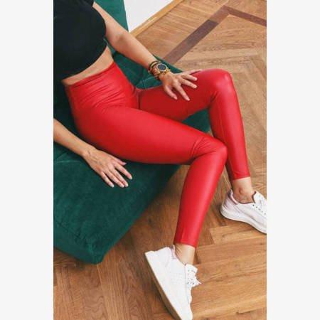 Czerwone legginsy z wysokim stanem - Odzież