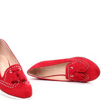 Czerwone lordsy nabite dżetami Tegan- Obuwie