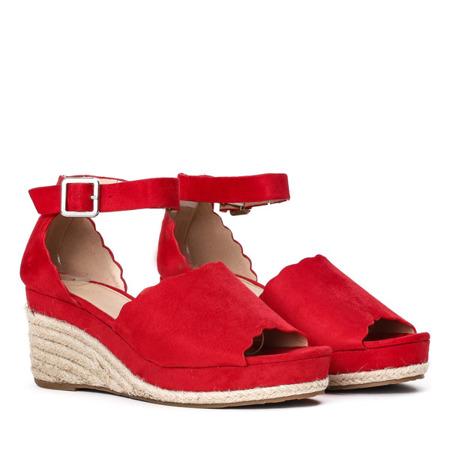 Czerwone sandały a'la espadryle na koturnie Summer Time - Obuwie